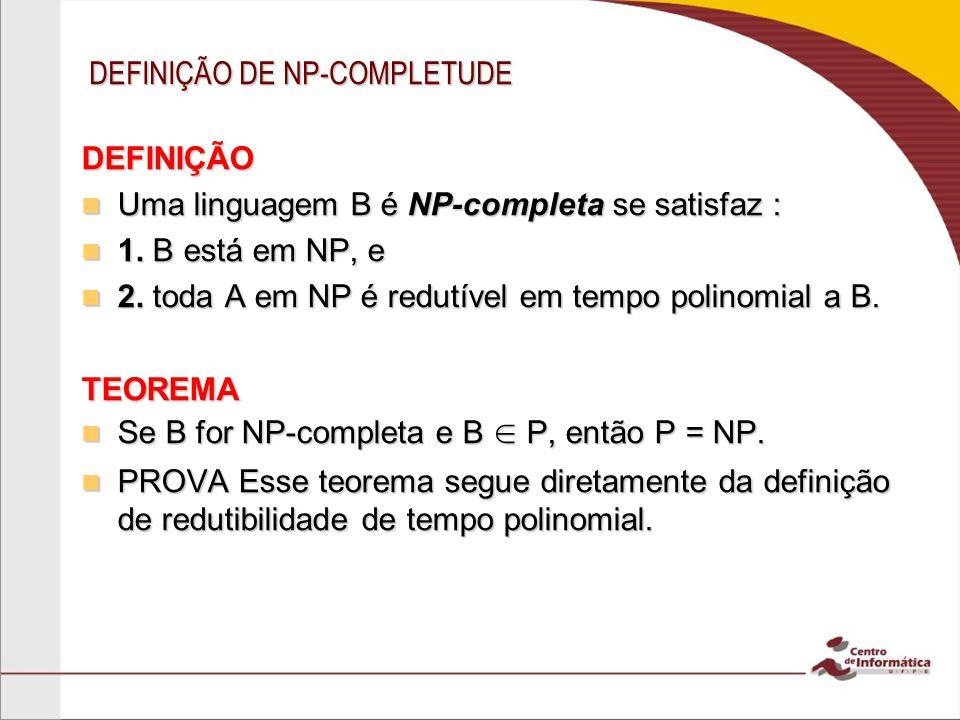 DEFINIÇÃO DE NP-COMPLETUDE