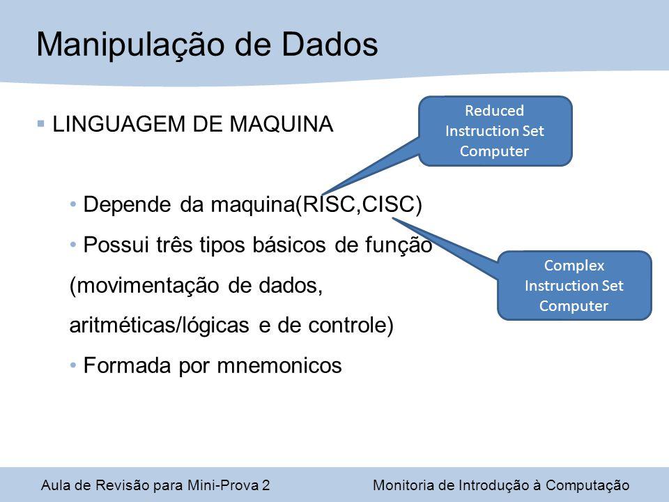 Manipulação de Dados LINGUAGEM DE MAQUINA