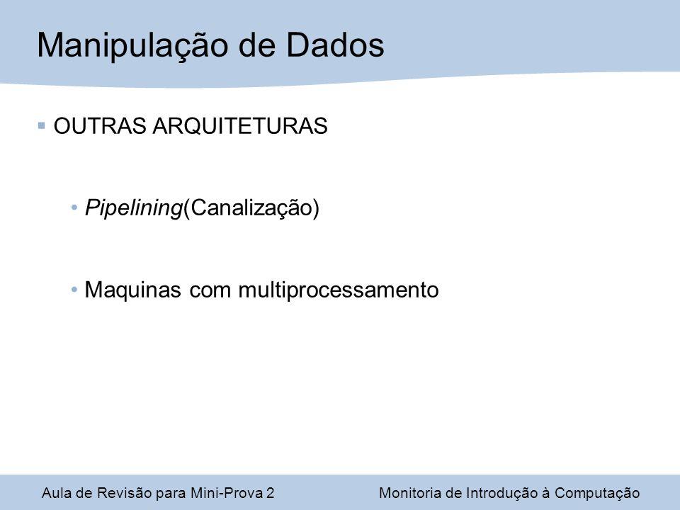 Manipulação de Dados OUTRAS ARQUITETURAS Pipelining(Canalização)