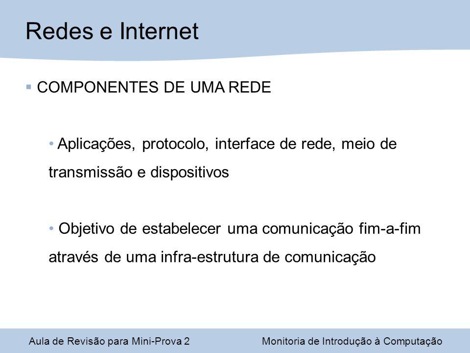 Redes e Internet COMPONENTES DE UMA REDE