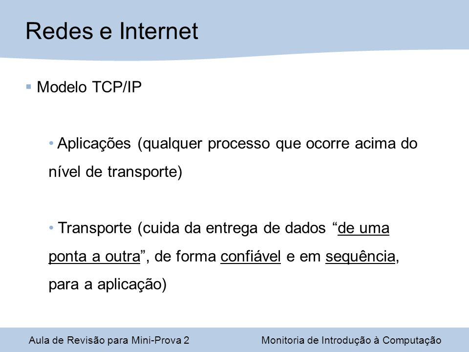 Redes e Internet Modelo TCP/IP