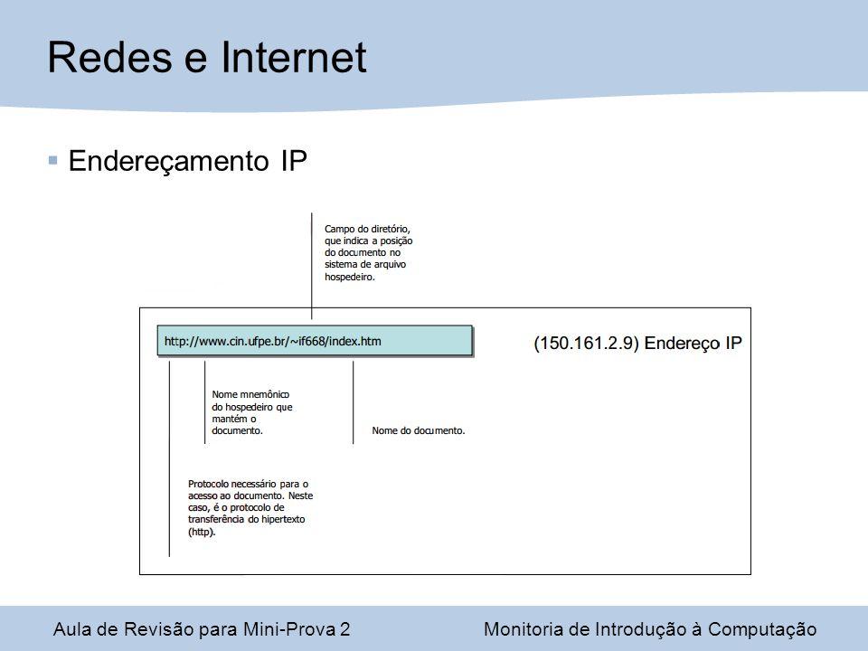 Redes e Internet Endereçamento IP Aula de Revisão para Mini-Prova 2