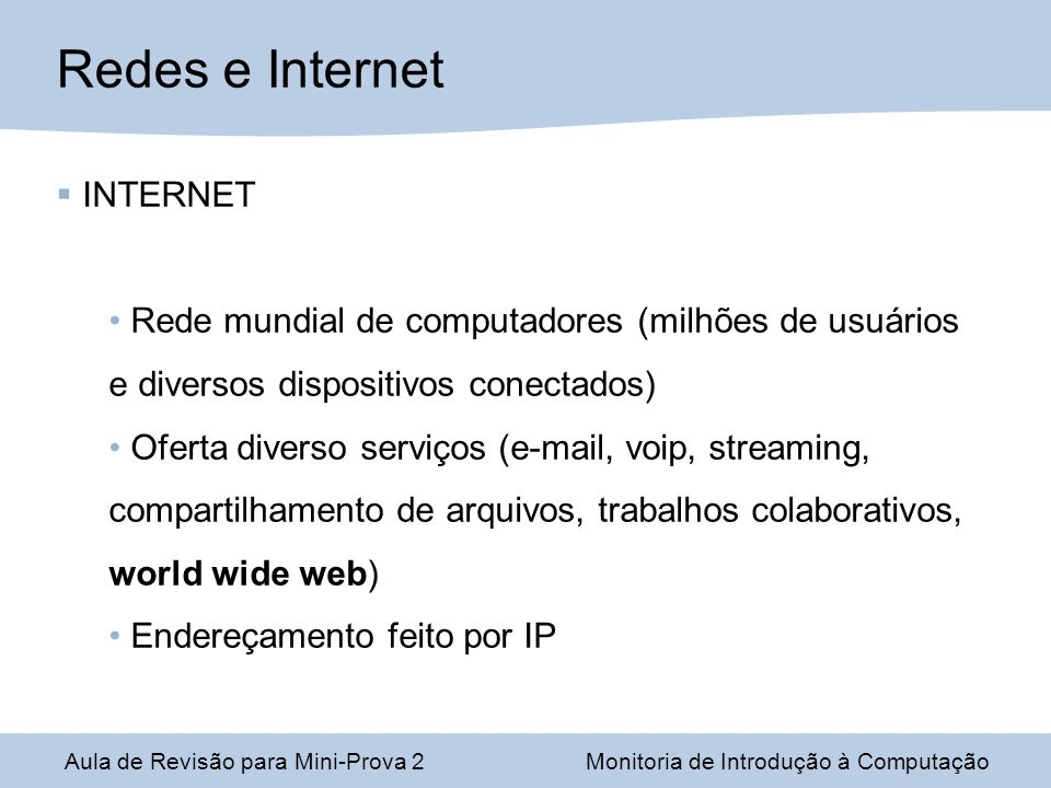 Redes e Internet INTERNET