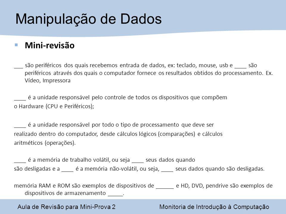 Manipulação de Dados Mini-revisão