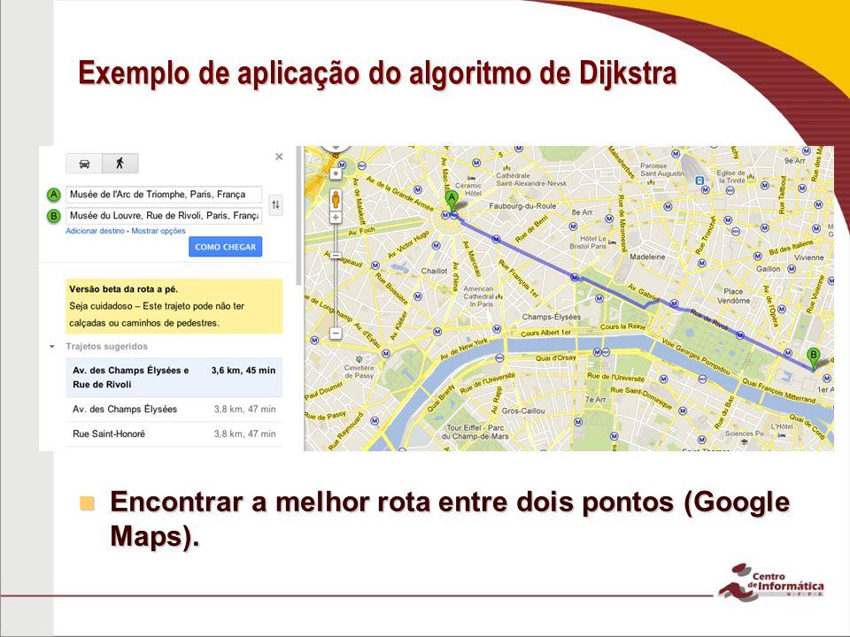 Exemplo de aplicação do algoritmo de Dijkstra