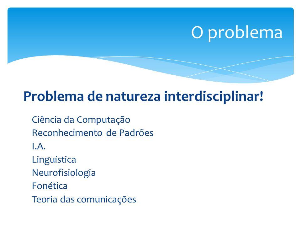 O problema Problema de natureza interdisciplinar!