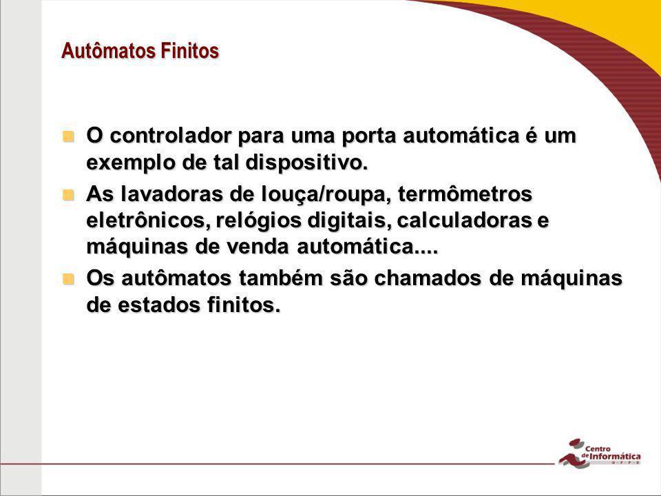 Autômatos Finitos O controlador para uma porta automática é um exemplo de tal dispositivo.