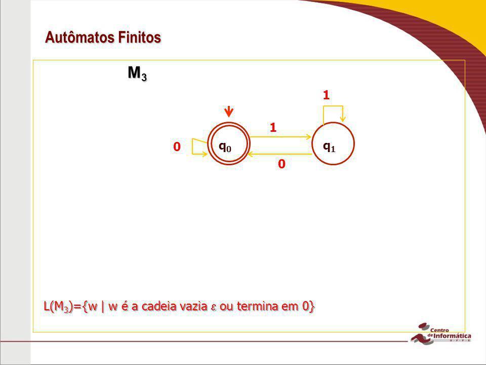 Autômatos Finitos M3 1 q0 q1 1 L(M3)={w | w é a cadeia vazia  ou termina em 0}