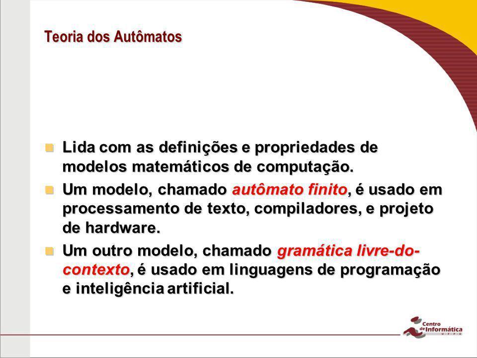 Teoria dos Autômatos Lida com as definições e propriedades de modelos matemáticos de computação.