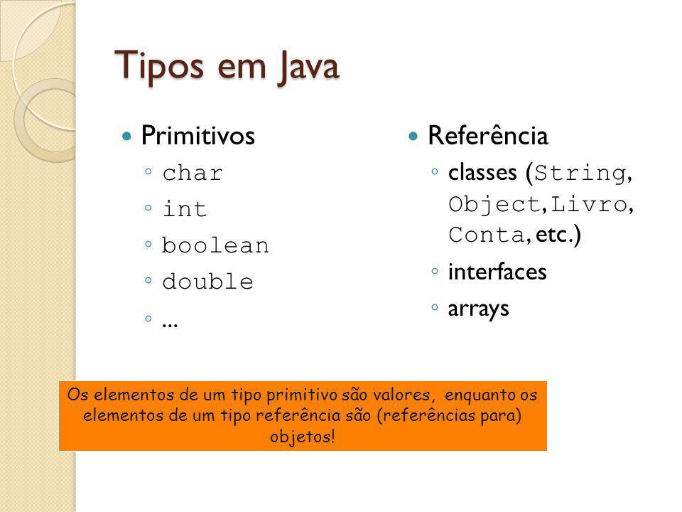 Tipos em Java Primitivos Referência char int boolean double ...