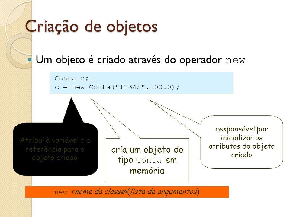 Criação de objetos Um objeto é criado através do operador new