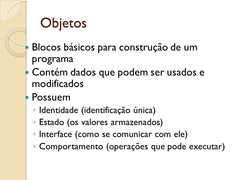 Objetos Blocos básicos para construção de um programa