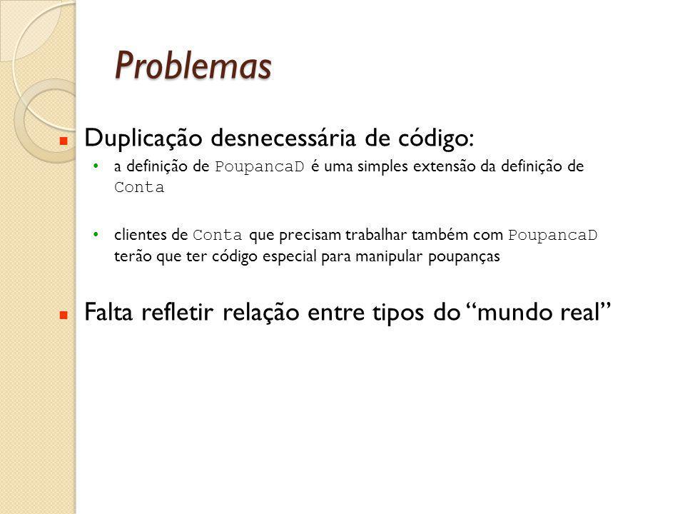 Problemas Duplicação desnecessária de código: