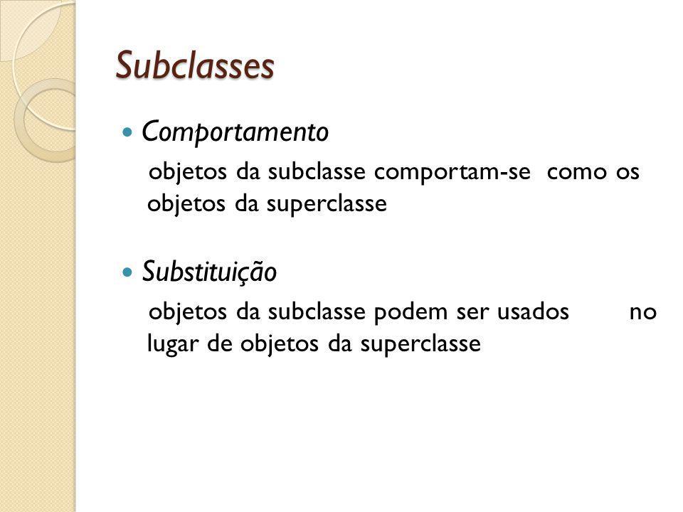 Subclasses Comportamento Substituição
