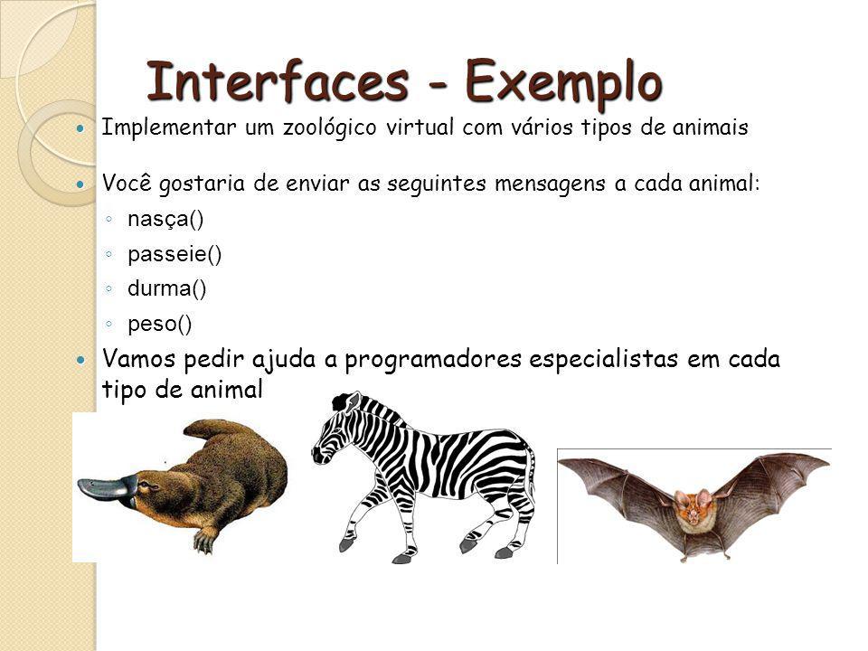Interfaces - Exemplo Implementar um zoológico virtual com vários tipos de animais. Você gostaria de enviar as seguintes mensagens a cada animal: