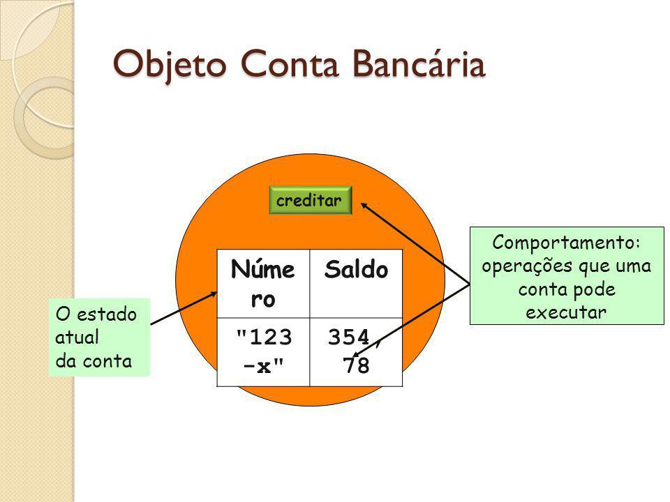 Objeto Conta Bancária Número Saldo 123-x 354,78 Comportamento: