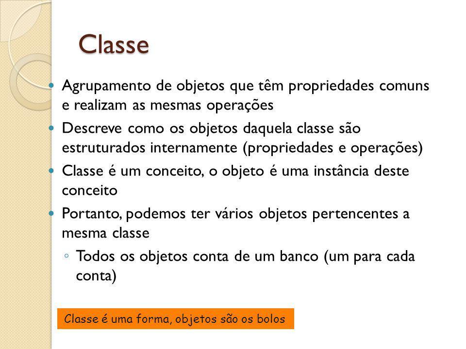 Classe Agrupamento de objetos que têm propriedades comuns e realizam as mesmas operações.