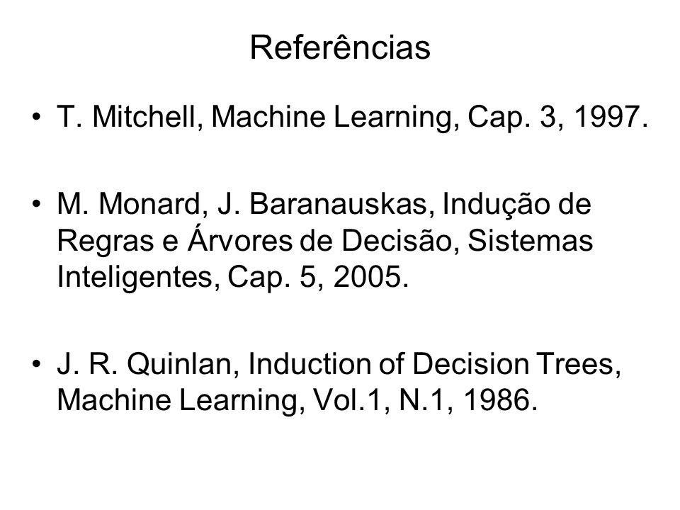 Referências T. Mitchell, Machine Learning, Cap. 3, 1997.