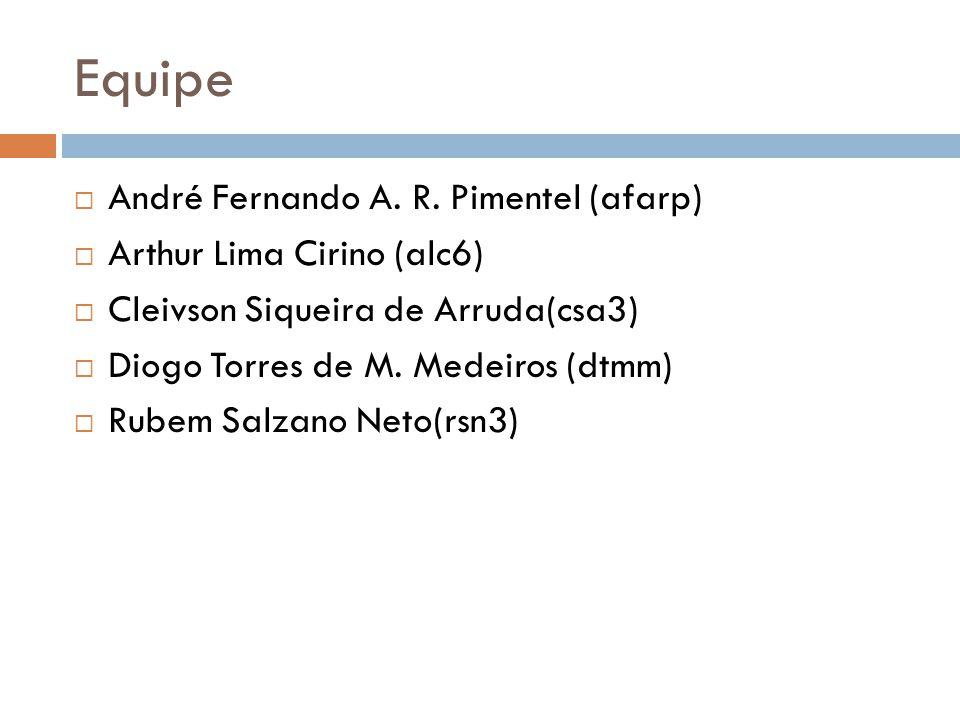 Equipe André Fernando A. R. Pimentel (afarp) Arthur Lima Cirino (alc6)