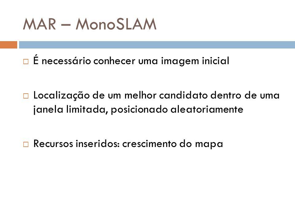 MAR – MonoSLAM É necessário conhecer uma imagem inicial