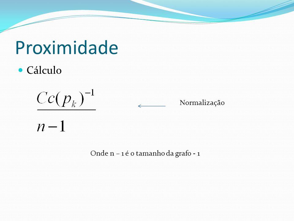 Proximidade Cálculo Normalização Onde n – 1 é o tamanho da grafo - 1