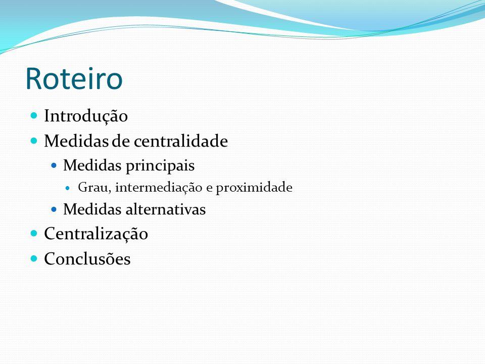 Roteiro Introdução Medidas de centralidade Centralização Conclusões