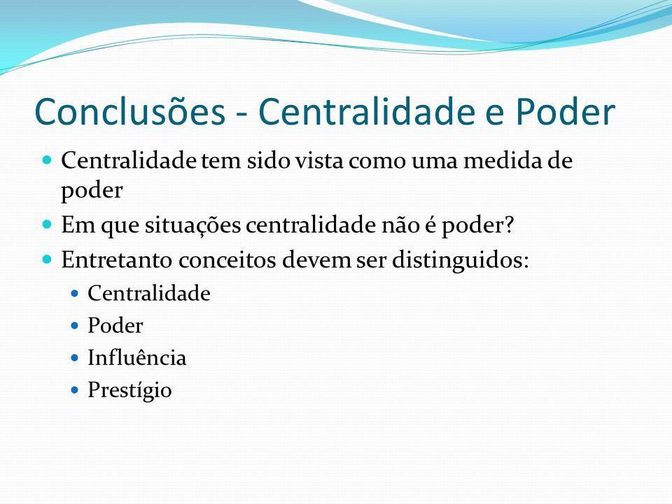 Conclusões - Centralidade e Poder