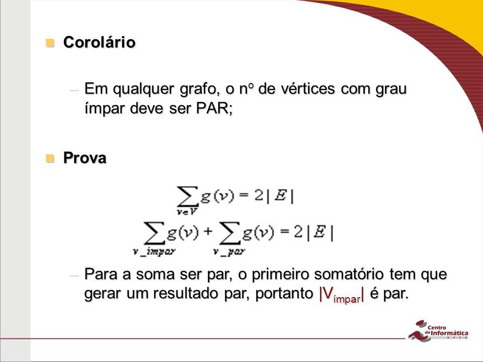 Corolário Em qualquer grafo, o no de vértices com grau ímpar deve ser PAR; Prova.