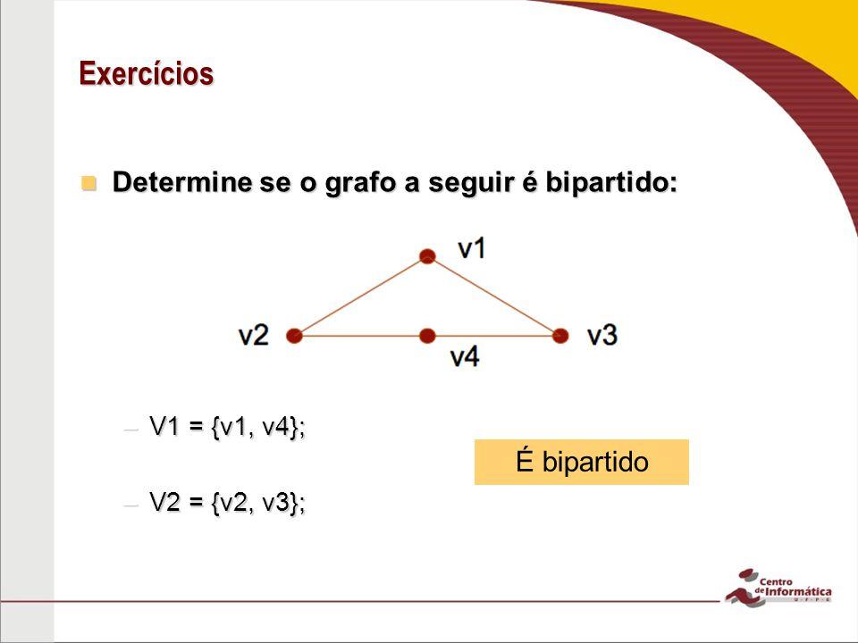 Exercícios Determine se o grafo a seguir é bipartido: É bipartido