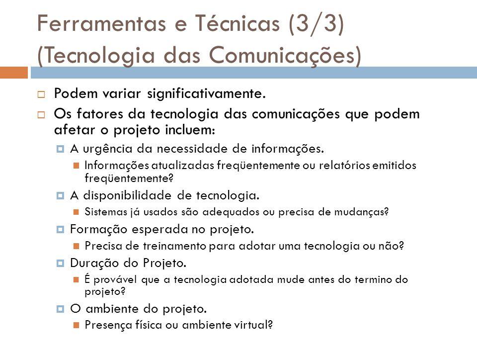 Ferramentas e Técnicas (3/3) (Tecnologia das Comunicações)