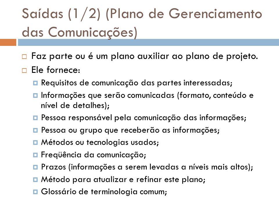Saídas (1/2) (Plano de Gerenciamento das Comunicações)