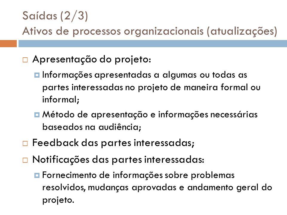 Saídas (2/3) Ativos de processos organizacionais (atualizações)