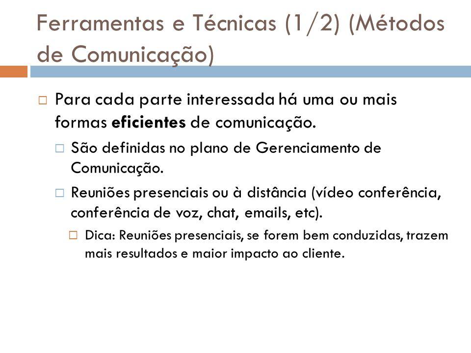 Ferramentas e Técnicas (1/2) (Métodos de Comunicação)