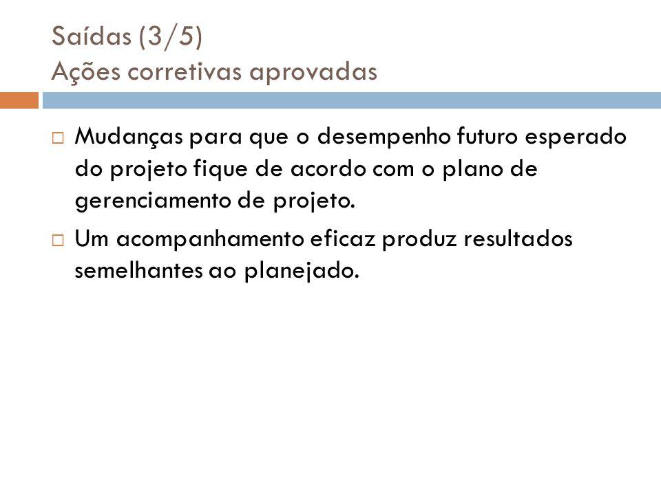 Saídas (3/5) Ações corretivas aprovadas