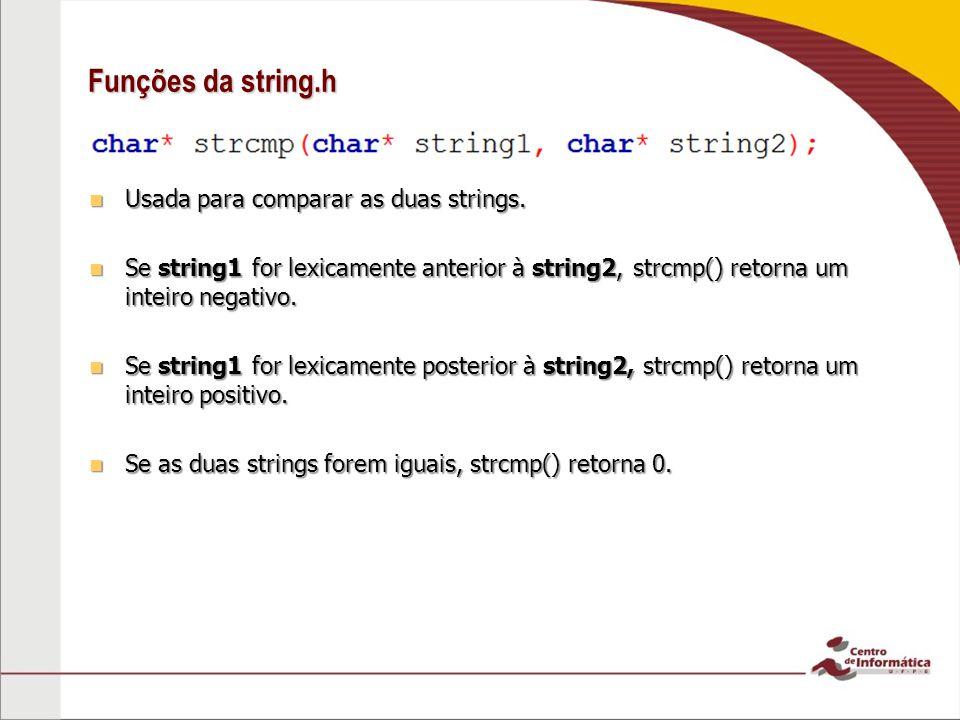 Funções da string.h Usada para comparar as duas strings.