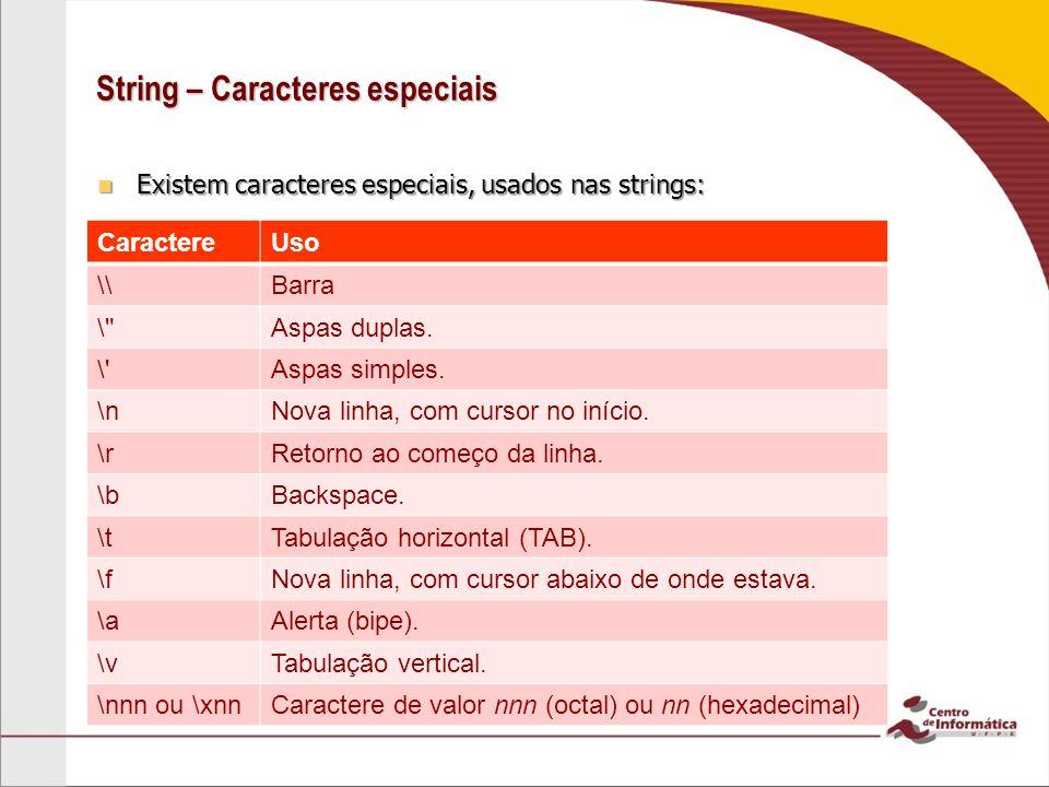 String – Caracteres especiais