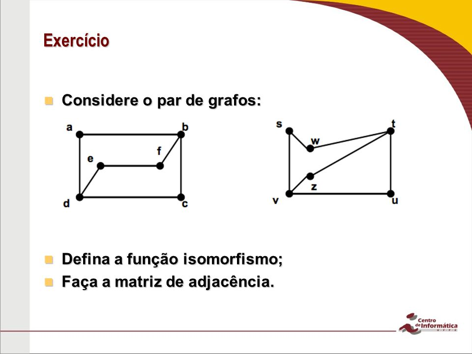 Exercício Considere o par de grafos: Defina a função isomorfismo;