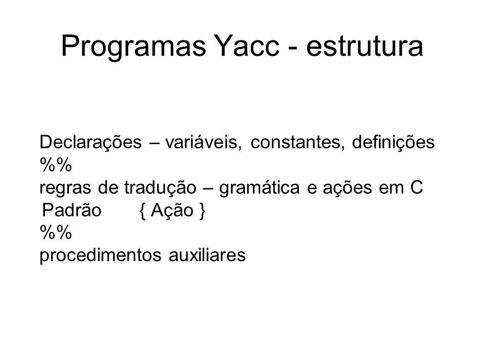 Programas Yacc - estrutura