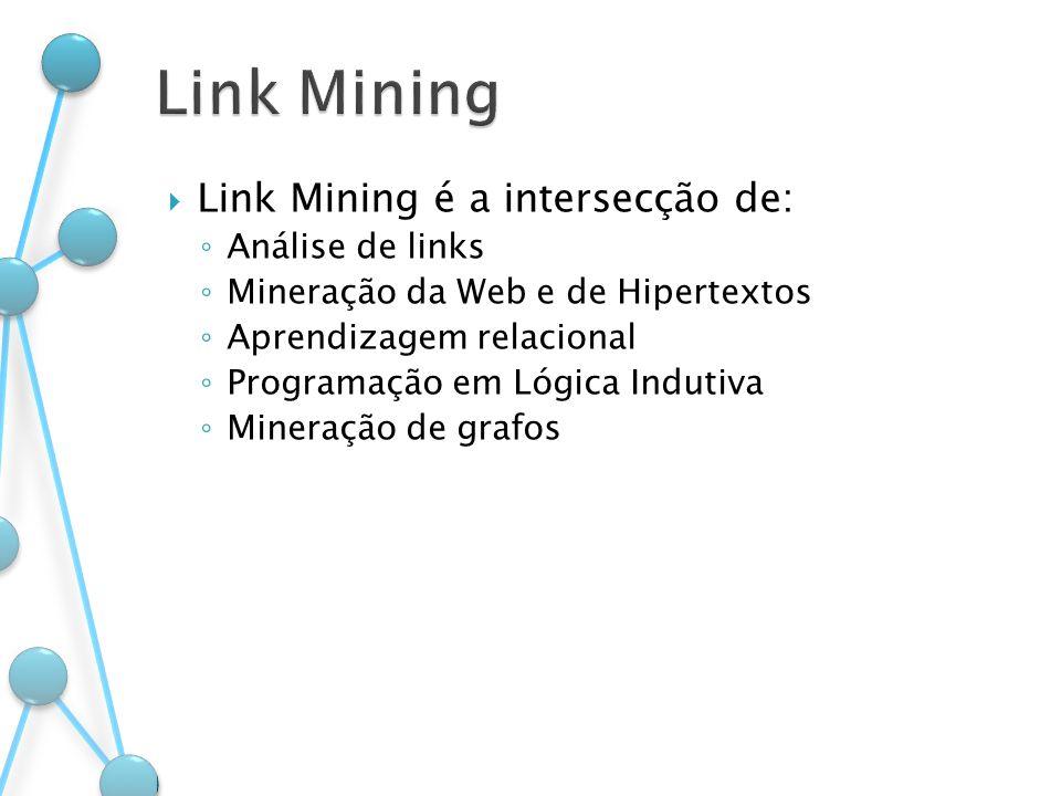Link Mining Link Mining é a intersecção de: Análise de links