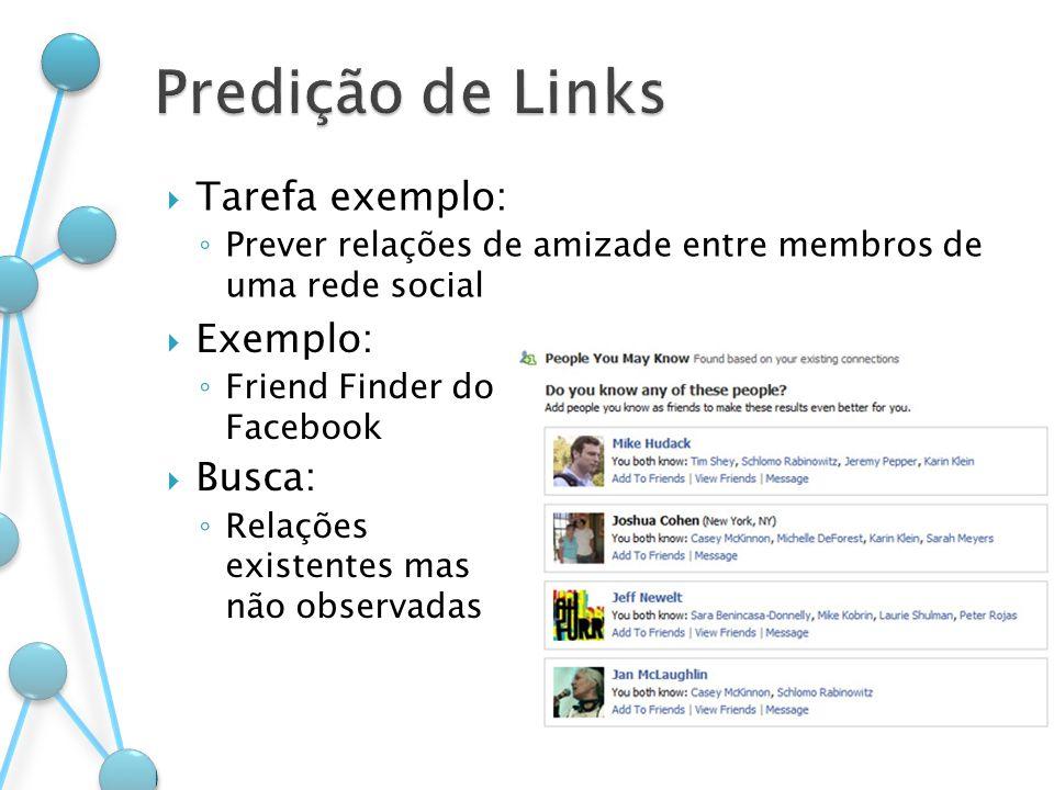 Predição de Links Tarefa exemplo: Exemplo: Busca: