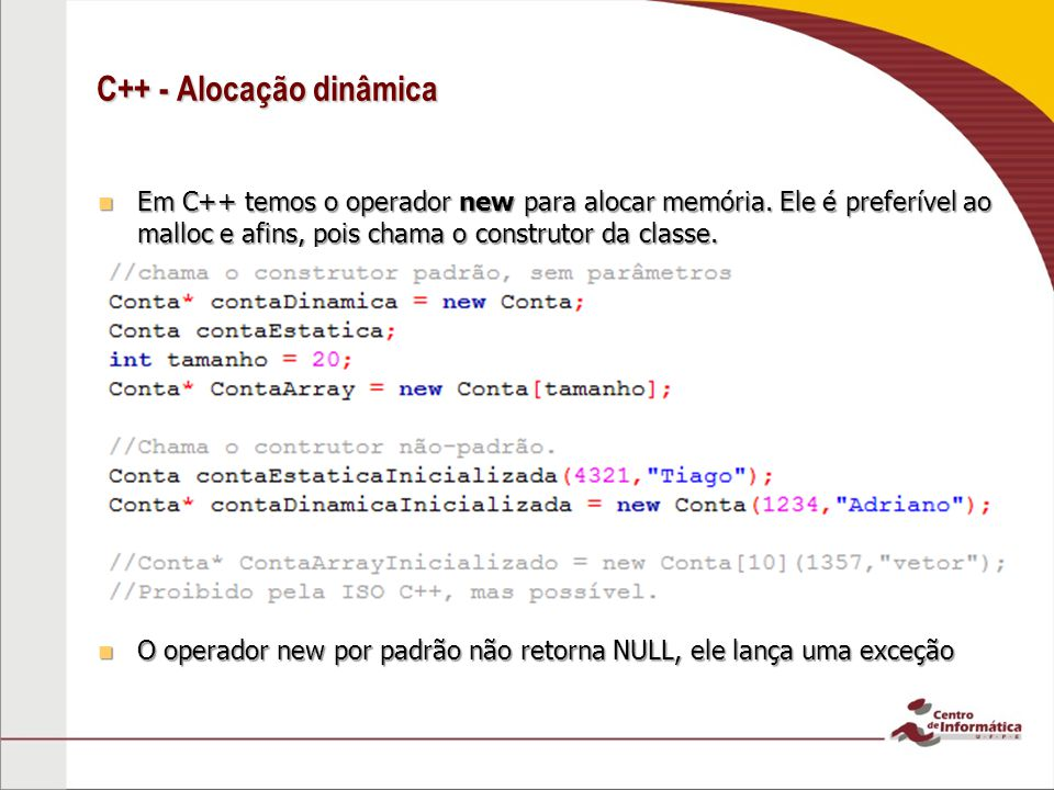 C++ - Alocação dinâmica