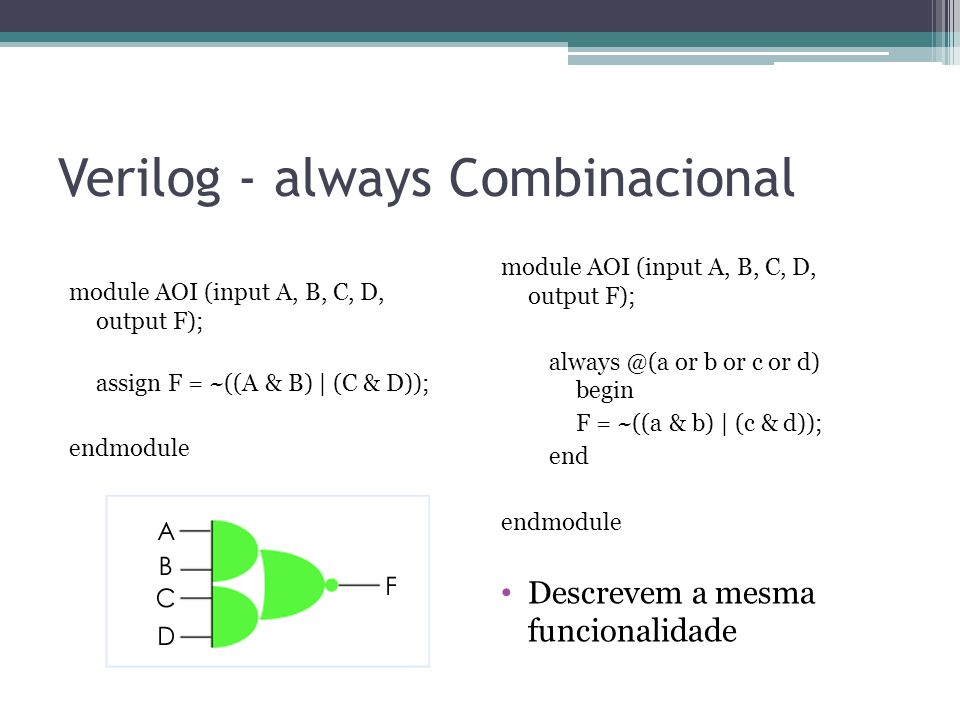 Verilog - always Combinacional