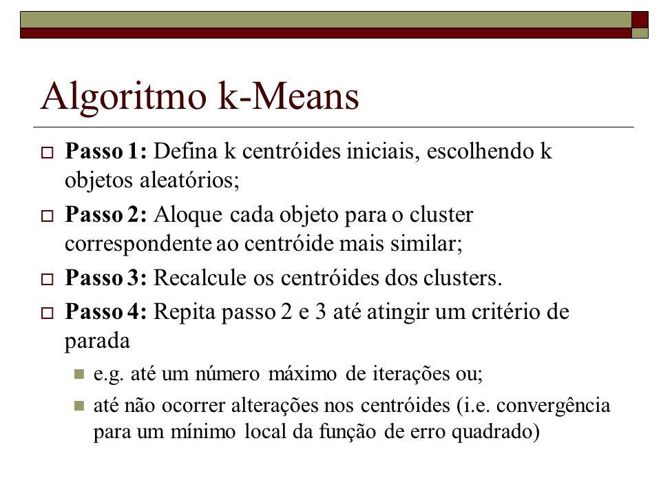 Algoritmo k-Means Passo 1: Defina k centróides iniciais, escolhendo k objetos aleatórios;