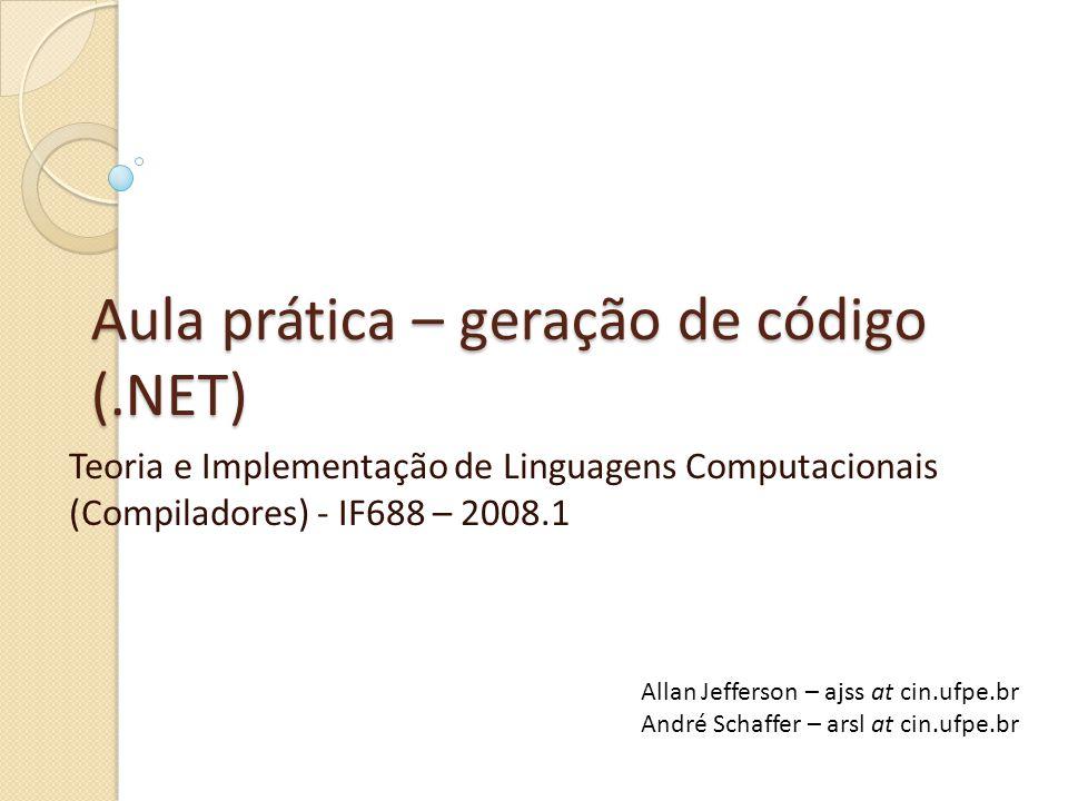 Aula prática – geração de código (.NET)