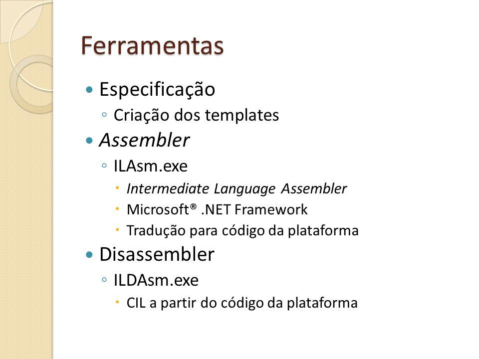 Ferramentas Especificação Assembler Disassembler Criação dos templates
