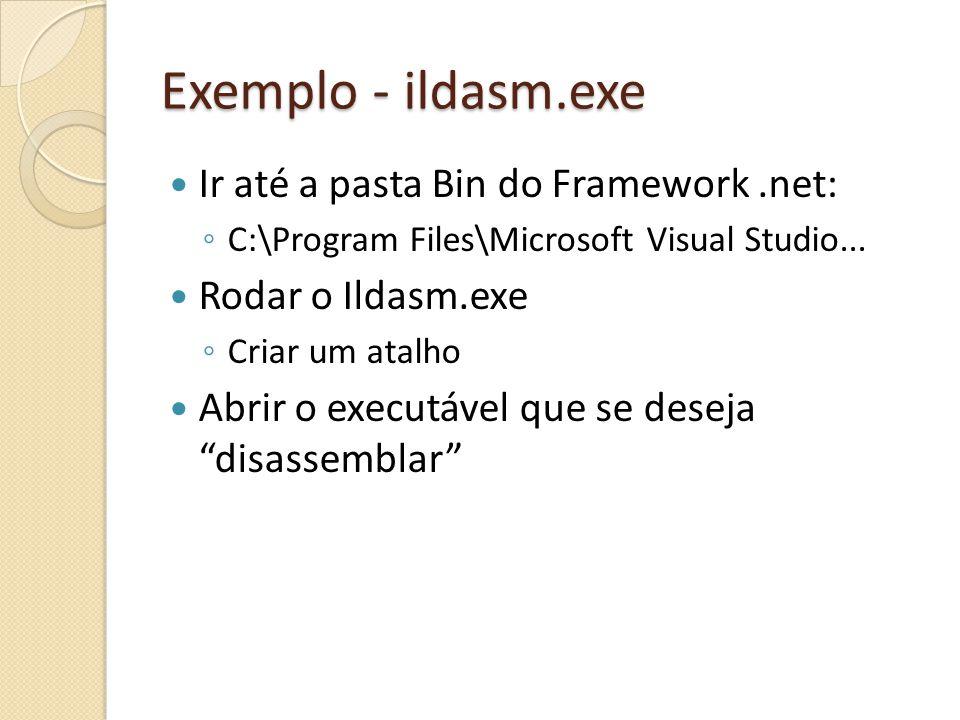 Exemplo - ildasm.exe Ir até a pasta Bin do Framework .net: