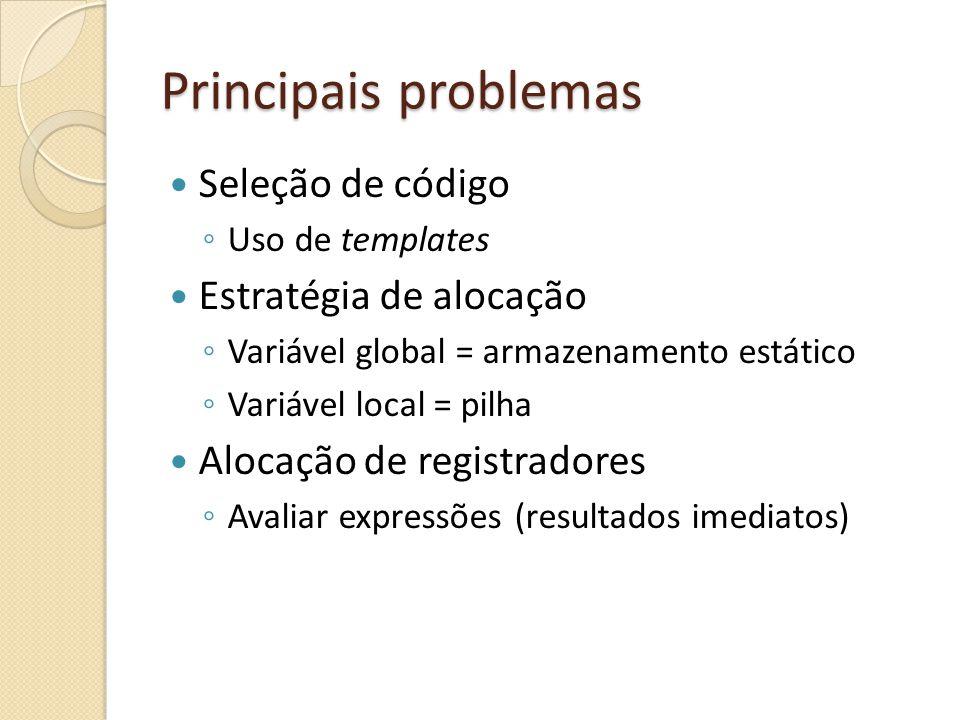 Principais problemas Seleção de código Estratégia de alocação