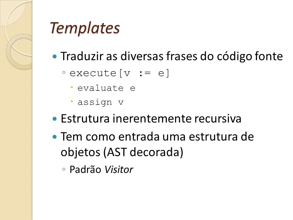 Templates Traduzir as diversas frases do código fonte