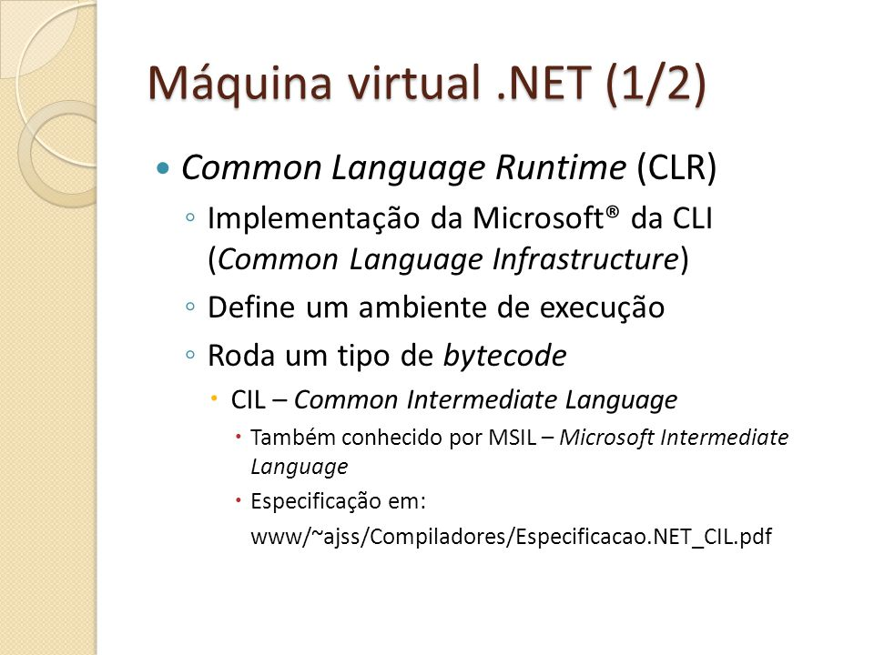 Máquina virtual .NET (1/2)