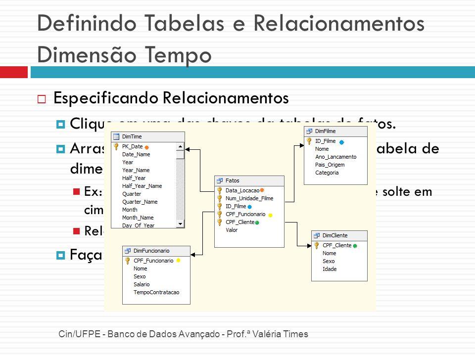 Definindo Tabelas e Relacionamentos Dimensão Tempo